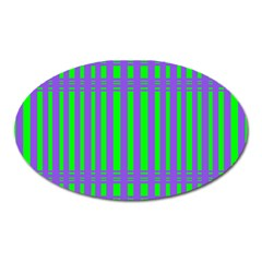 Bright Green Purple Stripes Pattern Oval Magnet