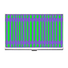 Bright Green Purple Stripes Pattern Business Card Holders