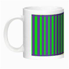 Bright Green Purple Stripes Pattern Night Luminous Mugs