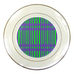 Bright Green Purple Stripes Pattern Porcelain Plates