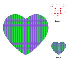 Bright Green Purple Stripes Pattern Playing Cards (heart)