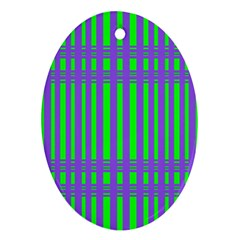 Bright Green Purple Stripes Pattern Oval Ornament (two Sides)