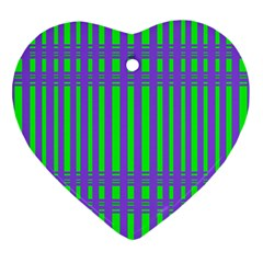 Bright Green Purple Stripes Pattern Heart Ornament (two Sides)