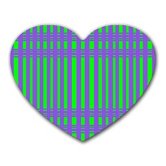 Bright Green Purple Stripes Pattern Heart Mousepads