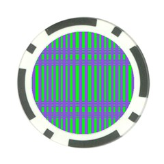 Bright Green Purple Stripes Pattern Poker Chip Card Guard (10 Pack)