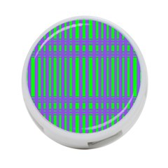 Bright Green Purple Stripes Pattern 4 Port Usb Hub (two Sides)