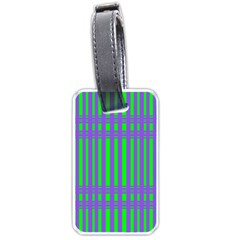 Bright Green Purple Stripes Pattern Luggage Tags (one Side)