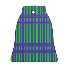 Bright Green Purple Stripes Pattern Ornament (bell)