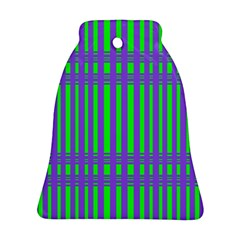 Bright Green Purple Stripes Pattern Bell Ornament (two Sides)