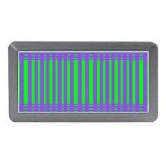 Bright Green Purple Stripes Pattern Memory Card Reader (mini)
