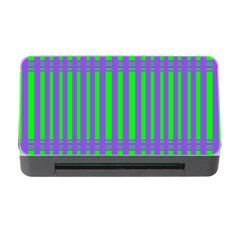 Bright Green Purple Stripes Pattern Memory Card Reader With Cf
