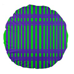 Bright Green Purple Stripes Pattern Large 18  Premium Round Cushions