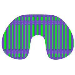 Bright Green Purple Stripes Pattern Travel Neck Pillows