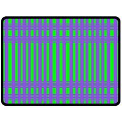 Bright Green Purple Stripes Pattern Double Sided Fleece Blanket (large)