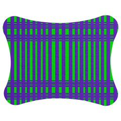 Bright Green Purple Stripes Pattern Jigsaw Puzzle Photo Stand (bow)