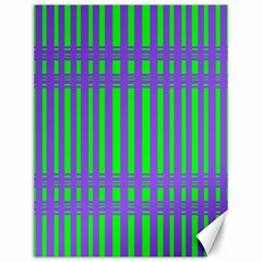 Bright Green Purple Stripes Pattern Canvas 12  X 16