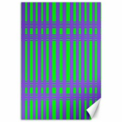 Bright Green Purple Stripes Pattern Canvas 12  X 18