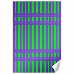 Bright Green Purple Stripes Pattern Canvas 24  X 36