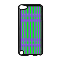 Bright Green Purple Stripes Pattern Apple Ipod Touch 5 Case (black)