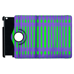 Bright Green Purple Stripes Pattern Apple Ipad 3/4 Flip 360 Case