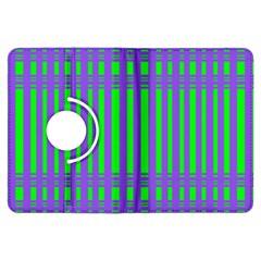 Bright Green Purple Stripes Pattern Kindle Fire Hdx Flip 360 Case