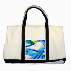 Lines Vibrations Wave Pattern Two Tone Tote Bag