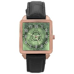 Rune Geometry Sacred Mystic Rose Gold Leather Watch