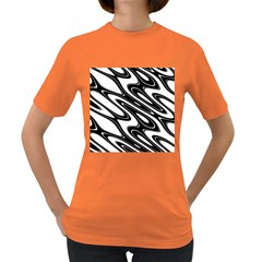 Black And White Wave Abstract Women s Dark T Shirt