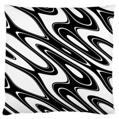 Black And White Wave Abstract Large Cushion Case (one Side)