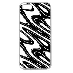 Black And White Wave Abstract Apple Seamless Iphone 5 Case (clear)