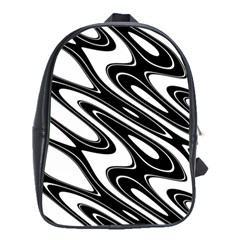 Black And White Wave Abstract School Bag (xl)