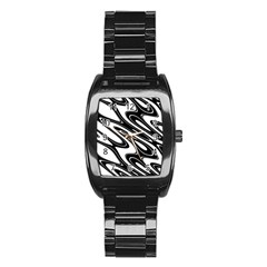 Black And White Wave Abstract Stainless Steel Barrel Watch