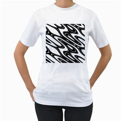 Black And White Wave Abstract Women s T Shirt (white)