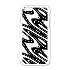 Black And White Wave Abstract Apple Iphone 6/6s White Enamel Case