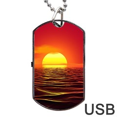 Sunset Ocean Nature Sea Landscape Dog Tag Usb Flash (two Sides)