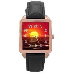 Sunset Ocean Nature Sea Landscape Rose Gold Leather Watch