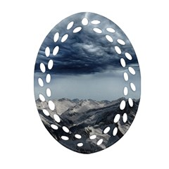 Mountain Landscape Sky Snow Oval Filigree Ornament (two Sides)