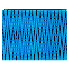 Sharp Blue And Black Wave Pattern Cosmetic Bag (xxxl)