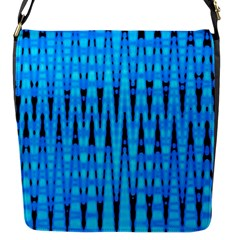 Sharp Blue And Black Wave Pattern Flap Messenger Bag (s)