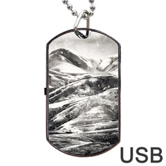 Mountains Winter Landscape Nature Dog Tag Usb Flash (one Side)