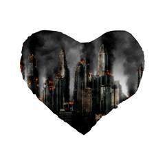 Armageddon Disaster Destruction War Standard 16  Premium Flano Heart Shape Cushions