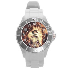 Science Fiction Teleportation Round Plastic Sport Watch (l)