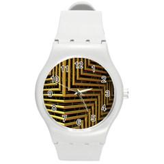 Modern Art Sculpture Architecture Round Plastic Sport Watch (m)