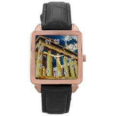 Athens Greece Ancient Architecture Rose Gold Leather Watch