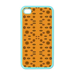 Brown Circle Pattern On Yellow Apple Iphone 4 Case (color)