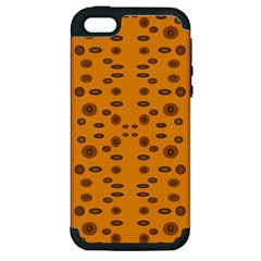 Brown Circle Pattern On Yellow Apple Iphone 5 Hardshell Case (pc+silicone)