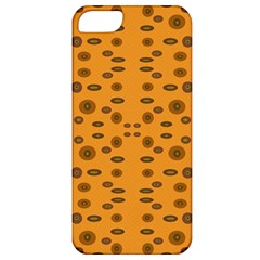 Brown Circle Pattern On Yellow Apple Iphone 5 Classic Hardshell Case