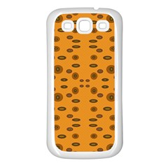 Brown Circle Pattern On Yellow Samsung Galaxy S3 Back Case (white)