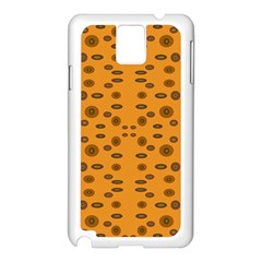 Brown Circle Pattern On Yellow Samsung Galaxy Note 3 N9005 Case (white)