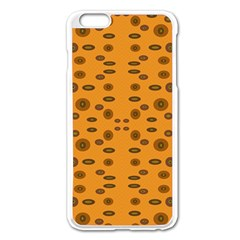 Brown Circle Pattern On Yellow Apple Iphone 6 Plus/6s Plus Enamel White Case